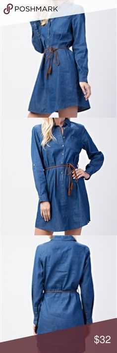 Denim Dress An Amazing denim dress. Every closet needs one of these, a great item to have in your closet.  Cute detailed braided belt.  100% cotton. Dresses