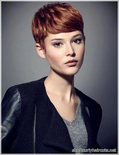 Super Short Hair Ideas on Pretty Ladies - Frisuren - Trend Frisuren - Haar Modell Red Hair Pixie Cut, Short Red Hair, Super Short Hair, Girl Short Hair, Short Hair Cuts, Pixie Cuts, Pixie Cut Bangs, Undercut Pixie, Pixie Haircut For Round Faces