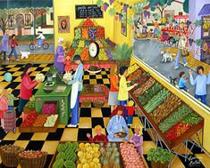 i like the colorful checkered floor and the colors, the busy scene.  The Green Grocer by Veronica Labat of Argentina