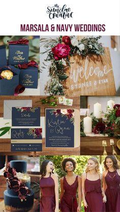 Marsala Wedding Invitation, Marsale Wedding, Marsala & Navy Wedding Invitation, Navy & Gold Wedding, Etsy Wedding, The Sundae Creative, Navy Wedding, Maroon Wedding, Marsala Wedding, Boho Wedding, Rustic Wedding