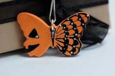 Halloween Butterfly Necklace Hand Painted by www.bflyjune.etsy.com , $30.00