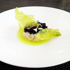 Grouper tartare, lime, Green apple coral touil by @xariszeugoulis via…