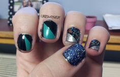 "Sinful Colors Rise and Shine, Wet'n Wild Black Creme, Sally Hansen Extreme Wear Celeb City, Claire's Bedazzled, Love and Beauty Charcoal, and Claire's Night Sky -- Inspiration from Marina and The Diamonds music video ""I am not a robot"". #nails #teal #black #sparkle #marinaandthediamonds"