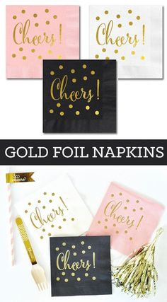 Cheers Napkins are the perfect cocktail party decor items to serve at your beverage station. Printed with Cheers and confetti dots in matte gold foil -