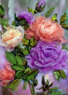 Painting Ribbon Embroidery organza roses by RibbonEmbroiderySilk on Etsy