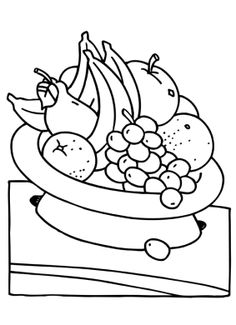 Assorted Fruit In The Basket Coloring Pages