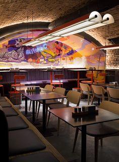 'punkraft' by ater architects brings the rebellious spirit of craft beer to kiev & # Punkraft & # bar by ater bringt den rebellischen Geist des Craft Beer in die Innenstadt von Kiew Pub Interior, Hotels, Scandinavian Interior Design, Beer Bar, Cafe Design, Architect Design, Restaurant Design, Arcade, Designer
