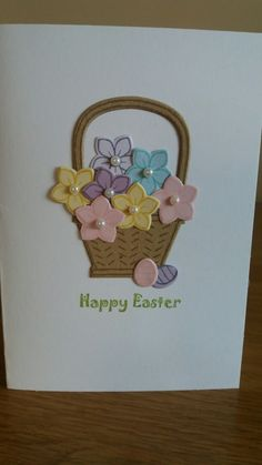 stampin up punch Quick Easter card using Basket Bunch from Stampin Up Holiday Cards, Christmas Cards, Easter Egg Designs, Diy Ostern, Flower Cards, Creative Cards, Easter Crafts, Homemade Cards, Stampin Up Cards