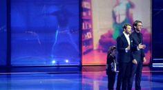 Nikolaj Koppel und Pilou Asbæk präsentierten neben Lise Rønne den 59. Eurovision Song Contest in Kopenhagen 2014 (B+W Hallerne).