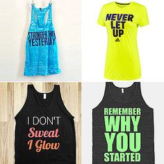 Cute inspirational fitness tanks and tees to get you through your workout!