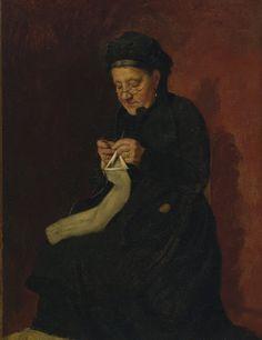 François Bonvin (French, 1817-1887) Femme tricotant, 1881