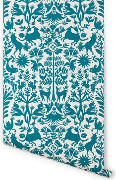 Otomi Wallpaper, Turquoise - contemporary - wallpaper - Hygge & West