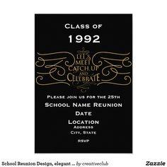 School Reunion Design, elegant style #schoolreunion #reunioninvitations #reunion