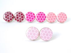 Cotton Candy Pink Stud Earrings Pink Honeycomb by LittleKiku, $9.00