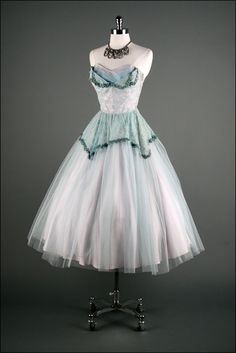 vintage 50's aqua and white shelf bust tea length wedding dress $26