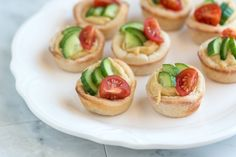 Easy Appetizer - Hummus Cups With Cucumber and Tomato #vegan #appetizers #partyfoods