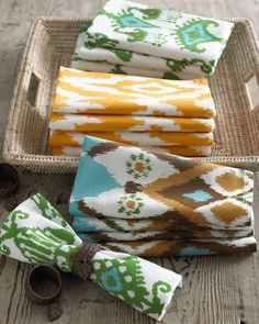 Just delicious! We love these ikat napkins—the perfect pop of color for the table.