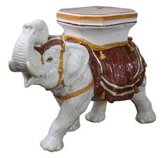 Vintage Ceramic Elephant Garden Stool Side/Table On Chairish.com. $440