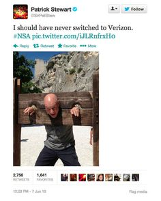 Awesome jab at The NSA. What do you expect from somebody as cool as Sir Patrick Stewart?