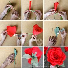 Como fazer Rosas Gigantes de Papel crepom - Dicas e passo a passo com fotos - DIY Paper Crepe Paper Roses - Tutorial - How to - Madame Criat...