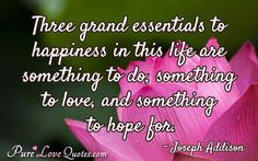 Three grand essentials to happiness in this life are something to do, something to love, and something to hope for. #purelovequotes