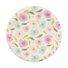 Floral Pattern Mint Pink Off White Paper Plate - floral style flower flowers stylish diy personalize