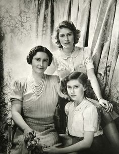 Queen Elizabeth the Queen Mother, Princess Elizabeth and Princess Margaret