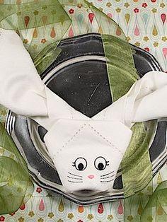 Easter Bunny Folded Cloth Napkins Set of 4 Embroidered Cloth Easter Napkins. Perfect napkins for a kids table! Napkins measure x Happy Easter! Cloth Napkin Folding, Cloth Napkins, Napkins Set, Folding Napkins, Monogrammed Napkins, Custom Napkins, Personalized Napkins, Painted Wine Bottles, Decorated Bottles