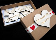 10 reasons why I love you, Personalised box set, Custom engraved gift, Anniversa