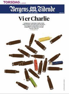 Charlie Hebdo : La Une du journal norvégien Bergens Tidende  @LinnGjerstad #JeSuisCharlie