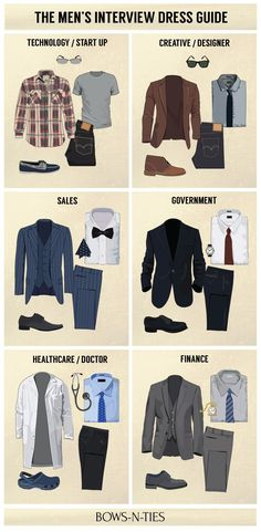 "bows-n-ties: "" Interview Dress Codes for the Top 6 Industries (source: BNT) "" Mode Masculine, Dress Attire, Men Dress, Dress Hats, Swag Dress, Interview Dress, Interview Outfit For Men, Job Interview Clothes, Interview Guide"