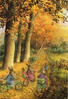 Susan Wheeler Holly Pond Hill Autumn Fall Thanksgiving Greeting Card (With images) Susan Wheeler, Beatrix Potter, Lapin Art, Thanksgiving Greeting Cards, Bunny Art, Woodland Creatures, Whimsical Art, Cute Illustration, Cute Art
