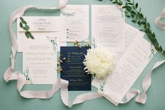Blush, gold and navy wedding invitations