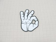 Iron on patch. A O K fingers patch by Goppyshop on Etsy