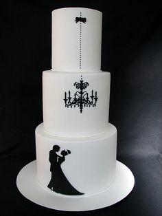 Tarta de #boda sencilla e impactante en blanco y negro / Black and white #wedding cake