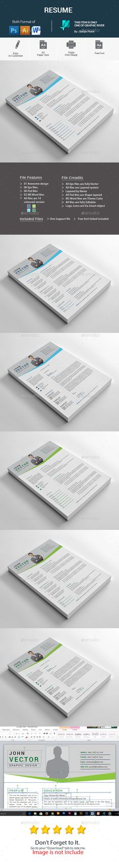 Resume Cv template, Resume cv and Font logo - not to include in resume
