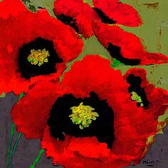 RED POPPIES ON OLIVE...Many flower paintings by Dale Moses from which to choose.  Framing available at great prices.  See your changes online as you change the style and color of the frame.  Fun to play around with.....check it out!  ~Moses