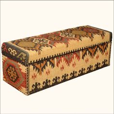 native american blanket mango wood fabric coffee table chest - Native American Decor