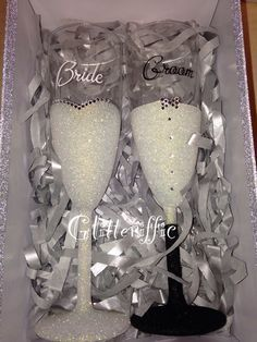 Bride and groom glitter glasses https://m.facebook.com/Glitterifficglassesandmore