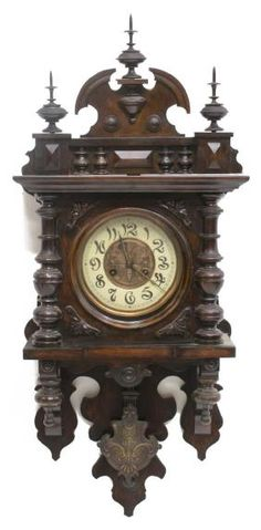 Lot: ART NOUVEAU BUTTERFLY CARVED WALNUT WALL CLOCK, Lot Number: 0744, Starting Bid: $125, Auctioneer: Austin Auction Gallery, Auction: DAY 2 ANTIQUES, FINE ART, JEWELRY, GOLD COINS, Date: July 23rd, 2017 CDT
