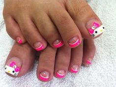 Cute Hello Kitty Nail Designs  I LOVE THIS #PEDICURE IDEA