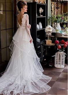 Stunning Lace & Satin V-Neck 2 In 1 Wedding Dresses With Beaded Lace Appliques