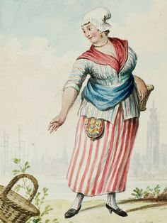 "1770s - 18th century - woman's outfit with mixed print fabrics (jacket in stripes with flowers in between stripes, skirt in stripes, neckerchief in plaid/checks) - From ""An album containing 90 fine water color paintings of costumes."" Turin : [s.n.] , [ca.1775]. In the collection of the Bunka Fashion College in Japan. Underneath the illustration the word ""Dutch"" is handwritten in pencil. - Netherlands"