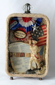 """""""The Patriot"""" altered soap tin """"Once Upon A Springtime"""" x altered tin """"Treasures of the Ocean"""" x a. Handmade Headbands, Handmade Crafts, Handmade Rugs, Altered Tins, Altered Art, Tin Can Crafts, Paper Crafts, Fourth Of July Decor, July 4th"""