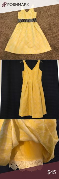 Anthropologie Yellow Summer Dress This dress was an absolute favorite of mine. It is perfect to wear to weddings, with a belt or without. It is truly adorable! Comes with the black and white polka-dot belt it came with. It also has pockets. This dress has been well loved and has piling especially under both under arms. There are some loose threads and there are two minor stains on the front. I have not tried to fix or remove anything. Anthropologie Dresses Midi