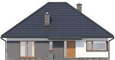 Elewacja frontowa projektu TK34 Garage Doors, Shed, Outdoor Structures, Outdoor Decor, Modern, Room, House, Home Decor, Bedroom