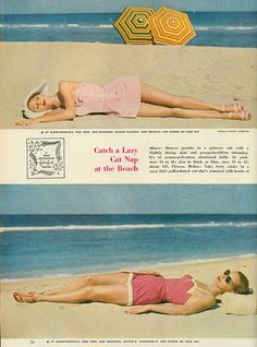 Catch a lazy cat nap at the beach in one of these sweetly pretty pink 1950s swimsuits.