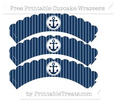 Free Navy Blue Thin Striped Pattern Nautical Scalloped Cupcake Wrappers