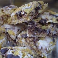 Great recipe, even better than crispy rice squares!!! These have marshmallows, coconut, almonds and cornflake cereal. Very tasty, very easy