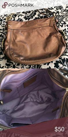 COACH Hobo Beautiful metallic brown leather hobo. Pretty purple interior. Like new! Coach Bags Hobos